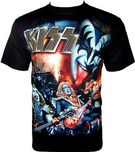 Kiss T-Shirt Heavy Metal Maglietta da Fan Nero R 534 nero S