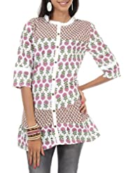 Rajrang Cotton Red, White Screen Printed Tunic Top, Size: L