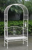 Arche de jardin avec banc 2 places - style vintage - fer forgé - blanc