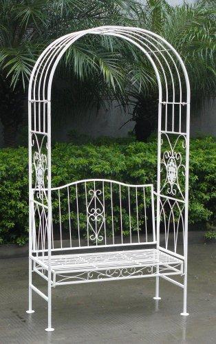 tectake rankhilfe rosenbogen metall mit bank sitzbank torbogen rankgitter laubengang schwarz. Black Bedroom Furniture Sets. Home Design Ideas