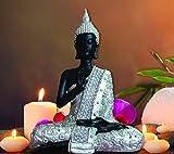 TIED RIBBONS Tiedribbons - Buddha Sitting (20 cm X 15 cm,Silver)