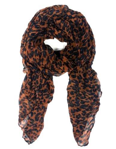 Short Leopard Scarf - Brown