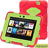 "2012 Kindle Fire Hd 7"" Cover Case Slim Fit Silicone Plastic Dual Protective Back Cover Standing Case Kid Proof Case for Amazon Kindle Fire Hd 7 Inch(will Not Fit Hd or HDX Models)-multiple Color Options (Red/Green)"