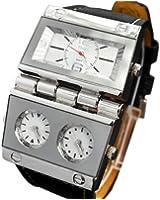 Oulm Replicate Dial Quartz Hours Men Bussiness Sport Wrist Watch Three Time Display