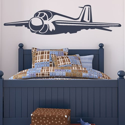 Bomber Plane Wall Sticker Airplane Wall Decal Art available in 5 Sizes and 25 Colours Small Moss Green