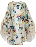 Jollychic Women's Light Loose Floral Print Chiffon Sheer Kimono Cardigan Blouses by NYC Leather Factory Outlet