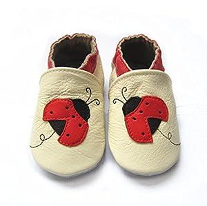 iPretty Zapatos de Cuero Suave Genuino de Bebé Niño para Primero Paso Preandador Zapatillas Lindos Beatiful para Infatil Mariquita (0-24 Meses)
