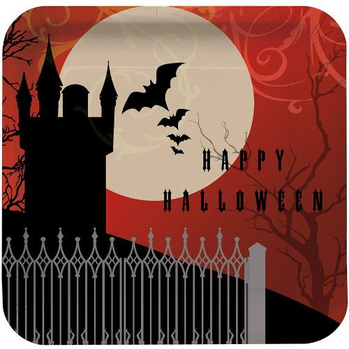 Creative Converting Halloween Frightful Night Deep Dish Square Dinner Plates, 8-Count