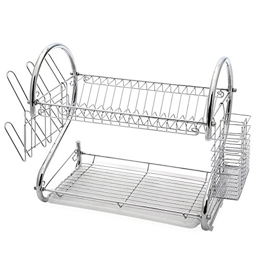 2-Tier Stainless Steel Dish Drying Holder Rack by Juvale (Stainless Dish Drying Rack compare prices)
