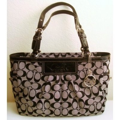 bloggang supercnx coach signature gallery book bag tote purse 14281 black white