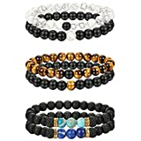LOYALLOOK 6pcs Couples Bracelets Long Distance Bracelet for His Hers 8mm Stone Bracelet