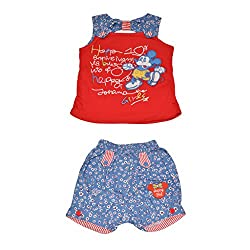 Baby Bucket Premium Summer suit Mickey Mouse Print on Sleeveless Top with Half Pant (Red, 9-12 Months)