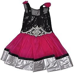 Be BeBo Girl's Cotton Dress (895_2, Black, 2 Year )