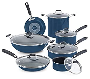 Emeril by All-Clad E412SD Hard Enamel Nonstick Cookware Set, 13-Piece, Blue