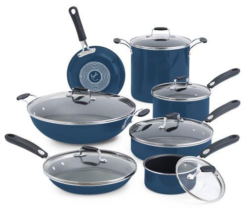 Emeril by All-Clad E412SD Hard Enamel Nonstick Cookware Set, 13-Piece, Blue