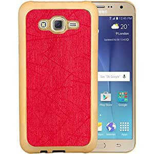 Casotec Electroplated Edge Chrome TPU Leather Back Case Cover for Samsung Galaxy J7 - Red