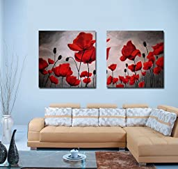 Spirit Up Art Huge Canvas Print Wall Art Red Poppy Flowers Pictures Modern Home Decoration Painting set of 2 Each is 50*50cm, Stretched and Framed, Ready to Hang #cy-743