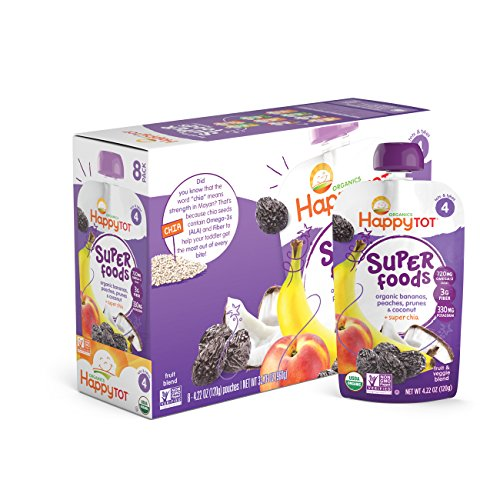Happy Tot Organics Super Foods, Bananas, Peaches, Prunes & Coconut + Super Chia, 4.22 Ounce (Pack of 16) (Dr Sears Baby Food compare prices)
