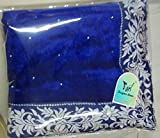 V-Art Womens Velvet & Net Saree (SABLUEVAL_Blue & white)
