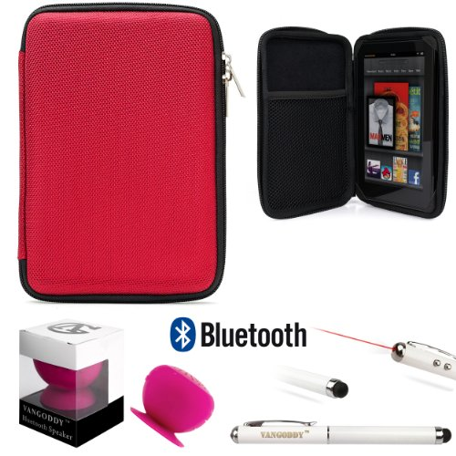 Travel Hard Nylon Lightweight Case For Rca Rct Rct6378W2, Rct6077W22, Rct6077W2 7-Inch Tablet + Pink Bluetooth Suction Speaker + Stylus Pen