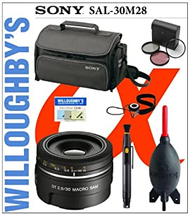 Sony SAL30M28 DSLR LENS (30mm F2.8 MACRO SAM) + Sony Bag + Lens Cleaning System + Giotto's Blower + Filters