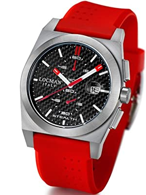 Locman Mens Stealth Chrono Watch Red 202CRBRDRD