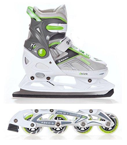 2in1-Schlittschuhe-Inline-Skates-Inliner-Raven-Pulse-WhiteGreen-verstellbar