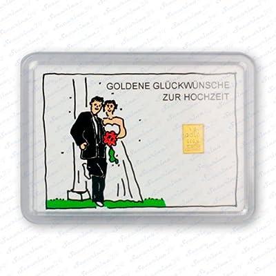 """Goldbarren 1g 1 Gramm Motivbox """" Hochzeit (Brautpaar) """" Gold Barren + Zertifikat von Securina24"""