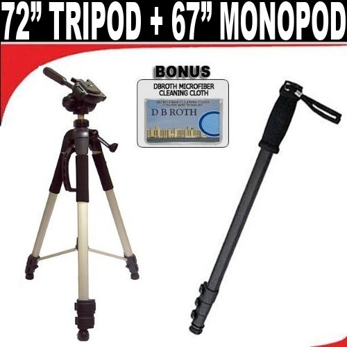 DB ROTH Professional 72-Inch Tripod with Deluxe Soft Carrying Case, 67-Inch Pro Photo / Video Monopod for Nikon D5000, D3000 Digital SLR Cameras