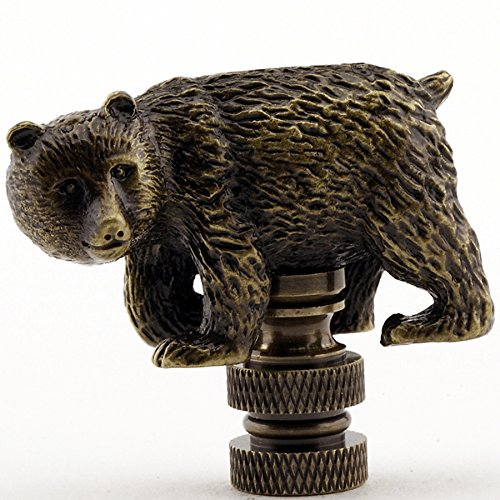 Walking Bear Lamp Finial in Antique Brass finish - 1.75 Inches high