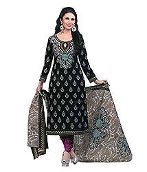 Divisha Fashion Black Cotton Printed Churiddar Suit with Dupatta