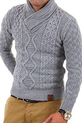 Tazzio - 3500 - Pullover lavorato a maglia con collo sciallato - Grigio - L