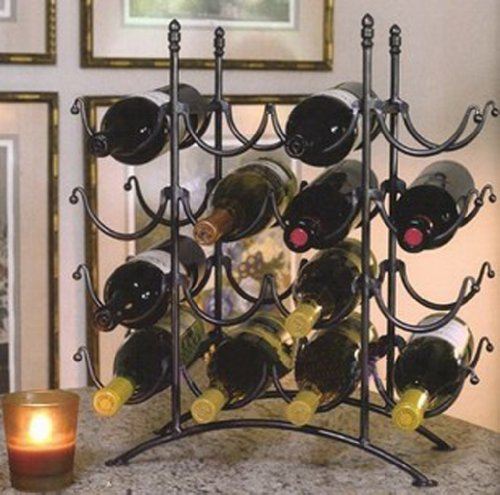 16 Bottle French Country Black Metal Wine Display Rack / Storage Organizer By Mygift front-476404
