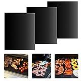 iLOMEバーベキューグリルマット BBQシート 便利 繰り返す使える 鉄板替りに 3枚セット ブラック