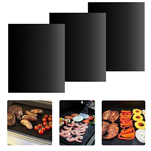 BBQ Grill Mat - Set of 3 Non-stick Grill Mats Reusable Grilling Mats Dishwasher Safe Barbecue Utensil for Meat Biscuit Baking by iLOME (Toy Kitchen Grill compare prices)