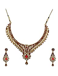 I Jewels Traditional Gold Plated Kundan Necklace Set With Maang Tikka For Women (Maroon) (K7037M)