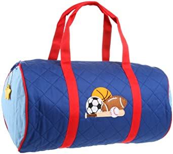 Stephen Joseph Little Boys' Sports Quilted Duffle,Royal Blue/Red,One Size