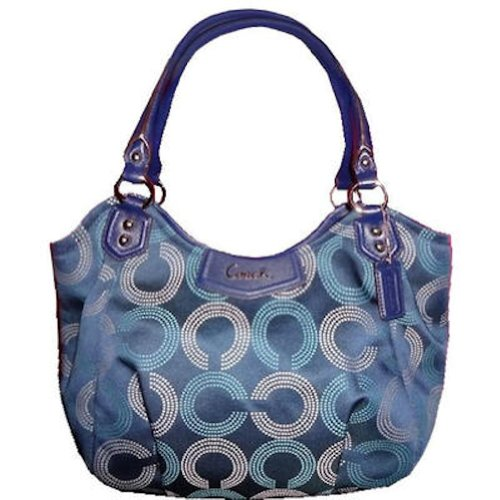Coach   Coach Ashley Dotted Op Art Shoulder Tote Bag Navy Deep Ink 23311