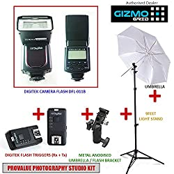 Photography Studio Kit with all Essentials Supports all DSLR Cameras Canon, Nikon, Sony, Panasonic, Pentax (Speedlite Camera Flash, Triggers, Umbrella, Bracket & Light Stand) [ GizmoGird ]