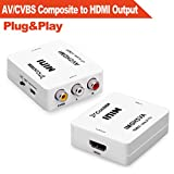 AV/CVBS Composite to HDMI Output,Costech HD 1080p Video Converter Adapter Plug and Play with USB Cable for HDTV,VCR,DVD,PS3,Monitors, Displayers (White)