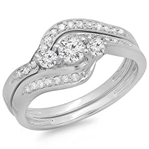 0.60 Carat (ctw) 14K White Gold Real Round Diamond Ladies Swirl Style Bridal 3 Stone Engagement Ring With Matching Band Set (Size 7)