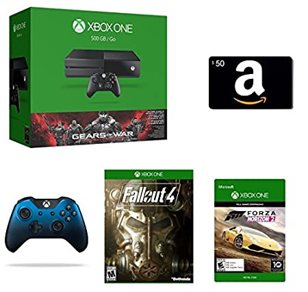 Xbox One 500GB Console - Gears of War: Ultimate Edition Bundle + $50 Amazon Gift Card [Physical Card] + Fallout 4 [Physical Disc] + Xbox One Special Edition Dusk Shadow Wireless Controller + Forza Horizon 2 [Emailed Digital Code]