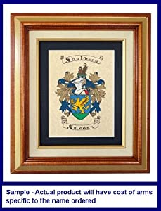 Vandergriff Family Coats of Arms Hand Painted Parchment Paper Matted and Framed
