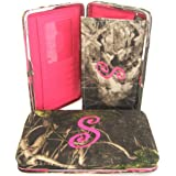"Soft Camo Initial "" S "" Thick Flat Wallet Clutch Purse Hot Pink Camoflauge"