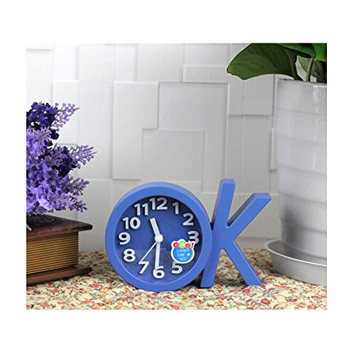 Mini Battery Operated chevet numérique Silent Alarm Clock OK-forme Bleu
