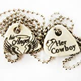 Cowboy and Angel Bone Guitar Pick Necklace Set of 2, his and her, Made in the USA, Gift Boxed!