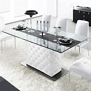 Amazon.com - Chesterfield Leather Table White - Tables