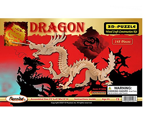 3-D Dragon Puzzle: 148 Wooden Pieces (No. 1506) - 1