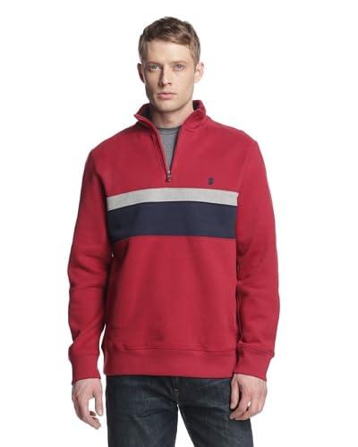 IZOD Men's Long Sleeve 1/4 Zip Sueded Fleece with Chest Stripe