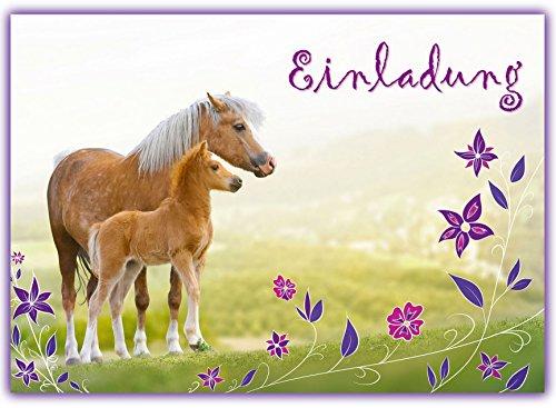 12-Pferde-Einladungskarten-zum-Kindergeburtstag-Geburtstagseinladungen-Mdchen-Einladungen-Geburtstag-Kinder-Blumen-Einhorn-Einladungstext-Vorlagen-Set-Karten-Set